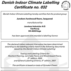 Danish Indoor Climate Labelling Certificate no. 032