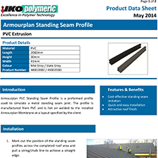 Armourplan Standing Seam Profile Data sheet
