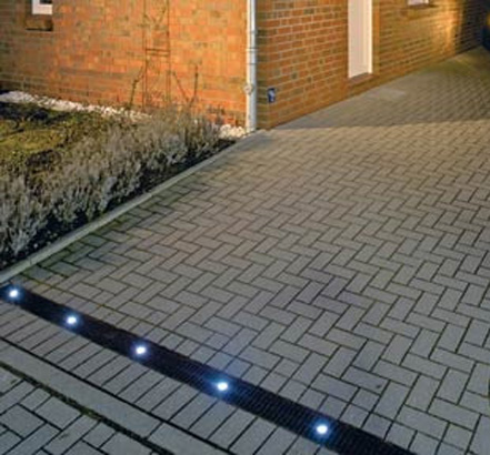 Aco lights up landscaping at glee for Landscape channel drain