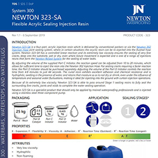Newton 323-SA Injection Resin - a flexible acrylic injection resin with a controllable reaction time and low viscosity.