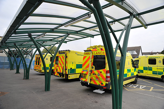 Cambridge Cantilever canopies at Airedale Hospital