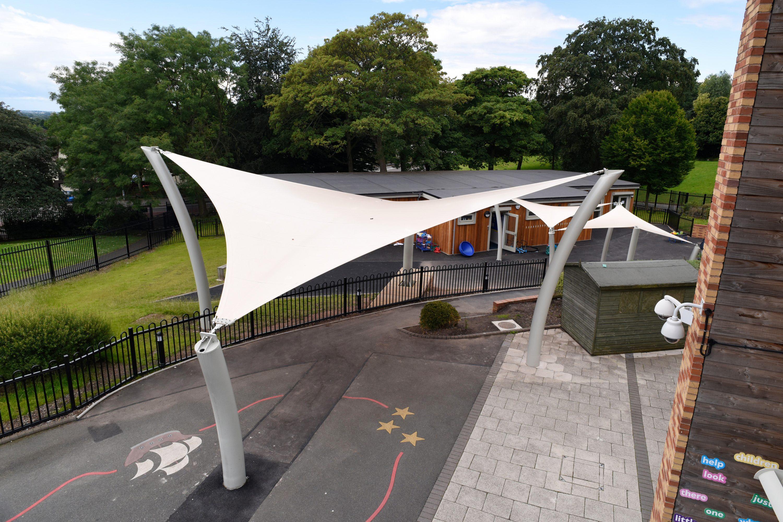 Tensile fabric waterproof shade sails & Broxap canopy for Bushbury Hill