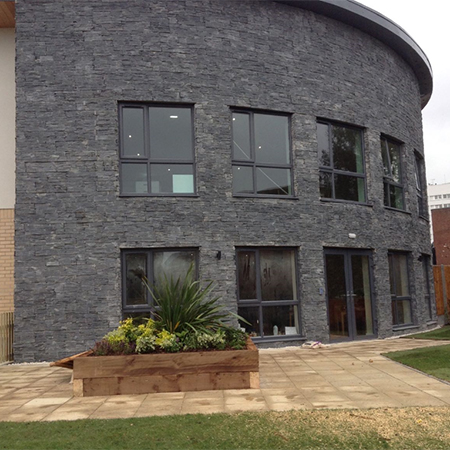 Natural slate wall panels for care home
