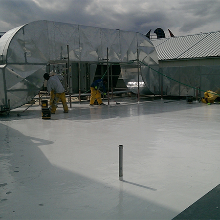 Liquid waterproofing membrane for shopping mall