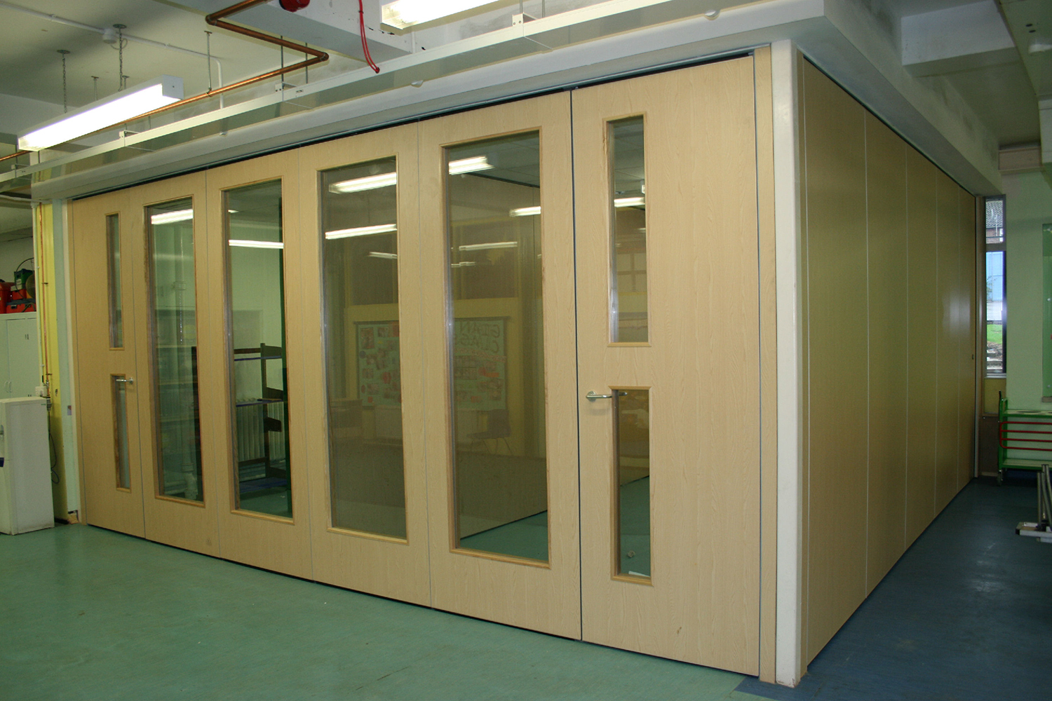 Operable walls from Beehive allow flexible spaces in classrooms