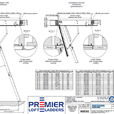 Designo: 3 part folding wooden ladder technical data