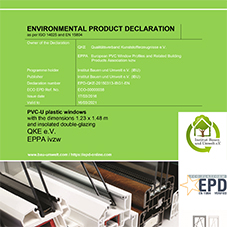 EPD EPPA PVC-U window (1,23 x 1,48 m) with insulated double glazing