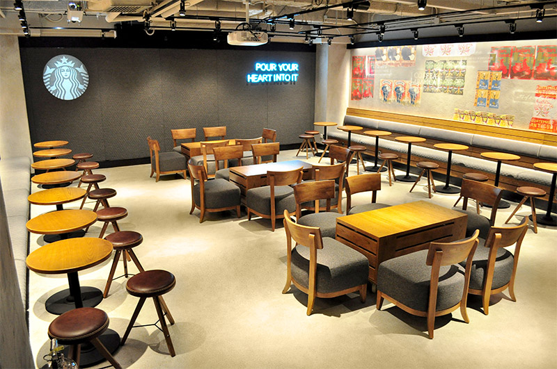 Flowcrete resin terrazzo floor at Starbucks, Hong Kong
