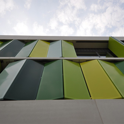 Folding facade system for fioretti college Folding facade
