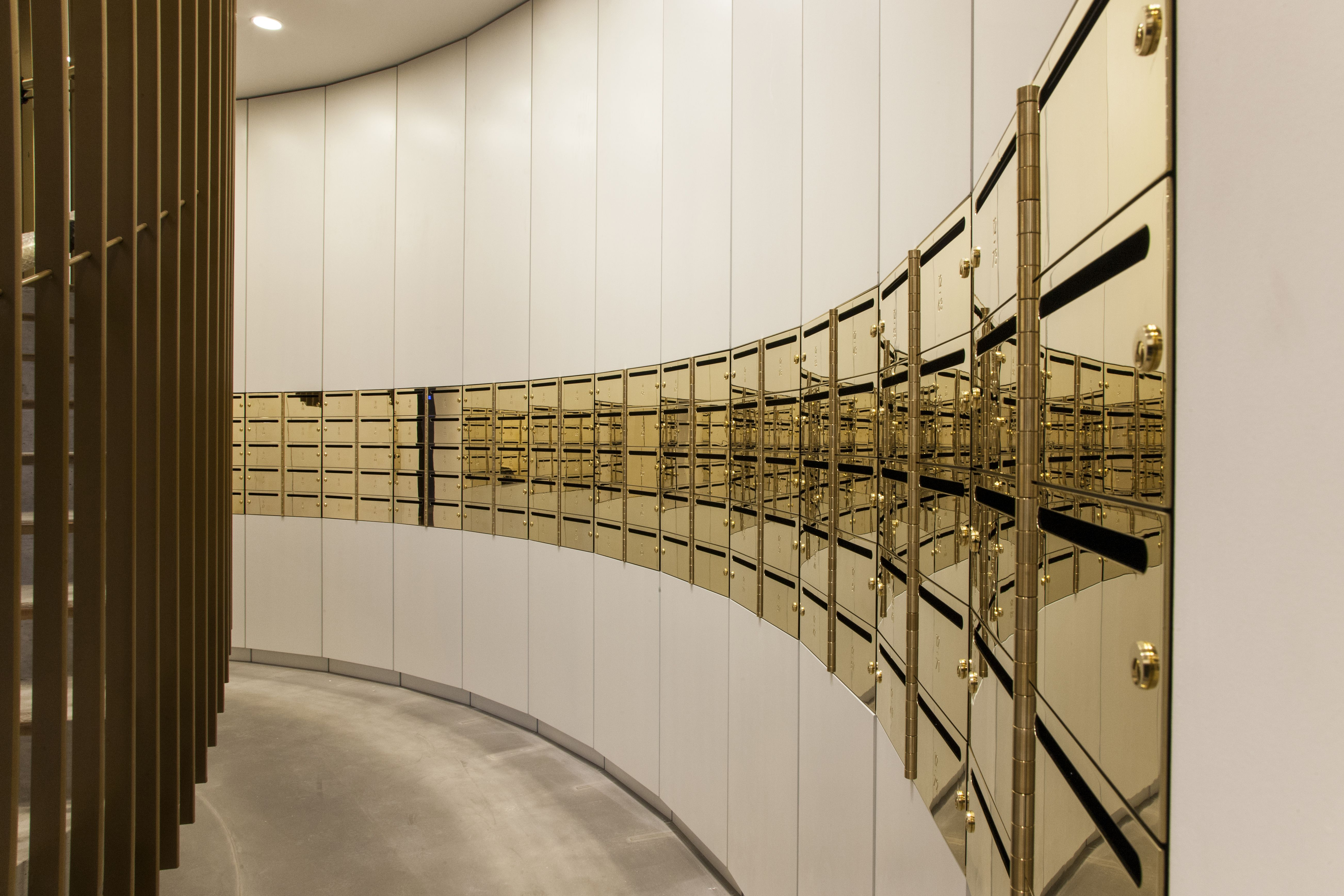 High-end brass mailboxes at Gasholders