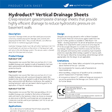 Hydroducts Verticle Drainage Sheets product data