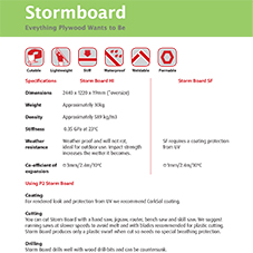 Stormboard specification sheet