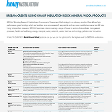 BREAAM Credits using Knauf Insulation Rock Mineral Wool products