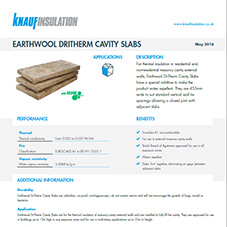 Knauf Insulation Earthwool® DriTherm Cavity Slabs