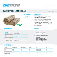 Knauf Insulation Earthwool® Loft Roll 40
