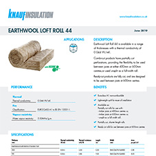 Knauf Insulation Earthwool® Loft Roll 44