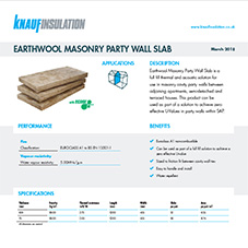 Knauf Insulation Earthwool® Masonry Party Wall Slab