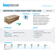 Knauf Insulation Earthwool® Timber Frame Party Wall Slab