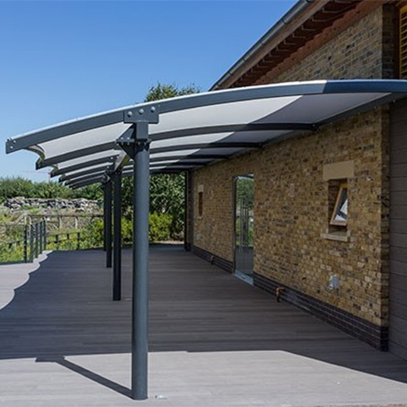 Cantilever canopy provides shade for London Wetland & canopy provides shade for London Wetland