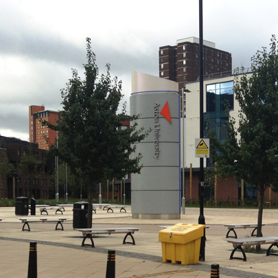 Outdoor seating for Aston University
