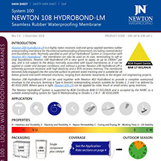 NEWTON 108 HYDROBOND-LM Seamless Rubber Waterproofing Membrane