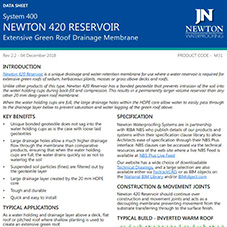 NEWTON 420 RESERVOIR - Extensive Green Roof Drainage Membrane