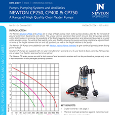 NEWTON Range of High Quality Clean Water Pumps