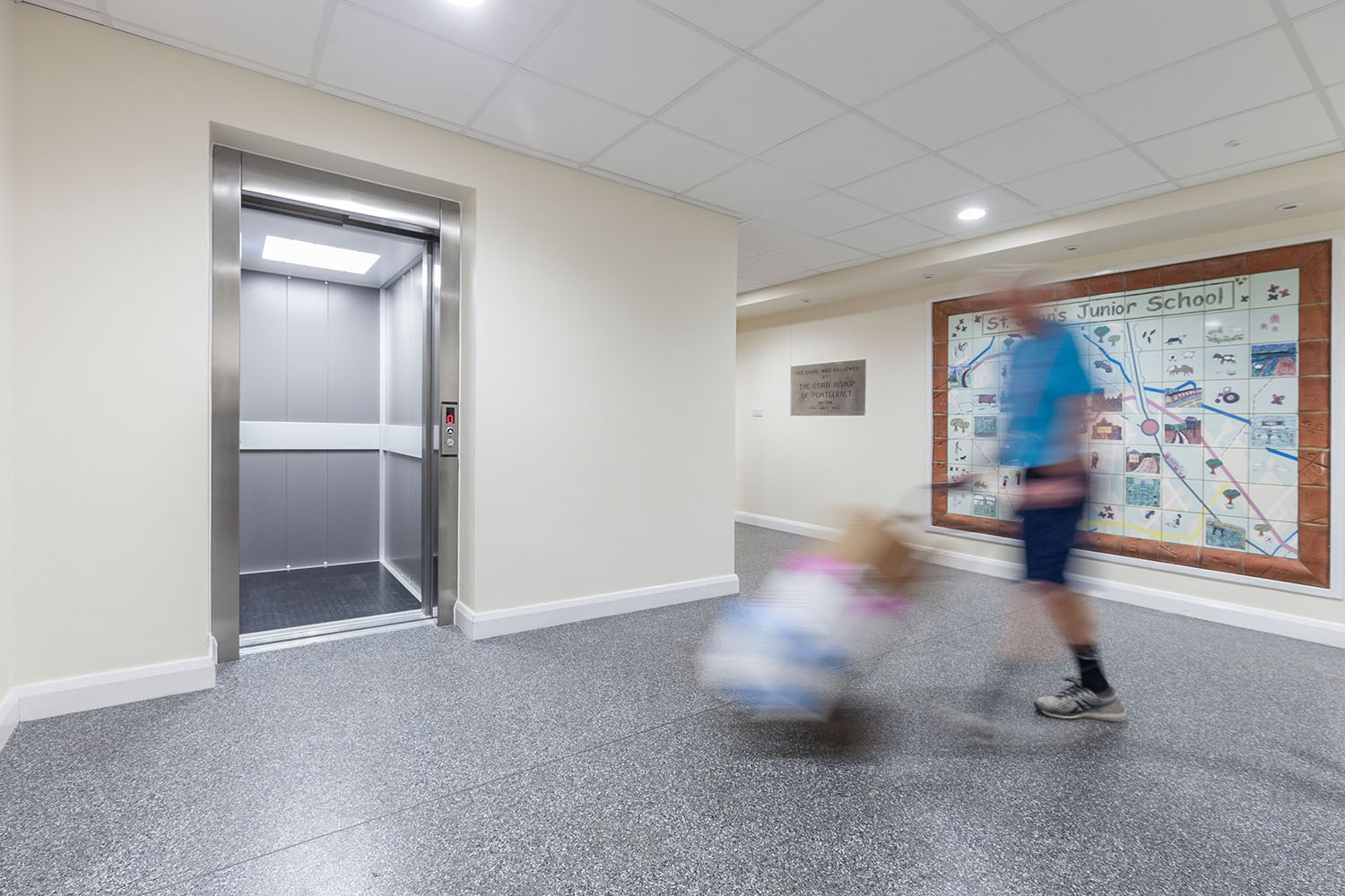 Space-saving passenger lift ups access in new school extension