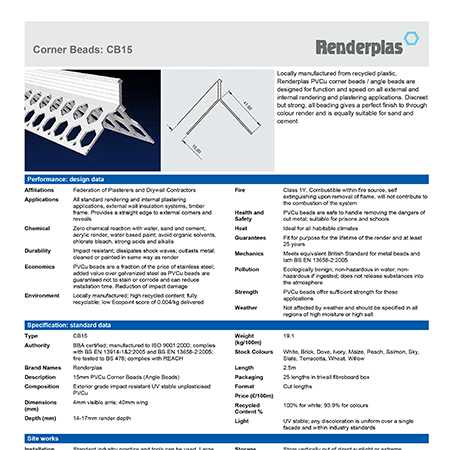 Renderplas Corner Beads: CB15