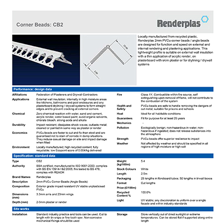 Renderplas Corner Beads CB2