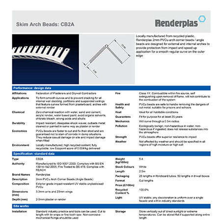 Renderplas Skim Arch Beads CB2A
