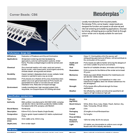 Renderplas Corner Beads CB8