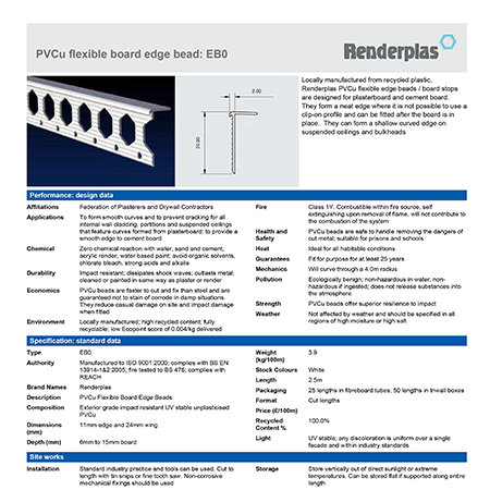 Renderplas PVCu flexible board edge bead: EB0