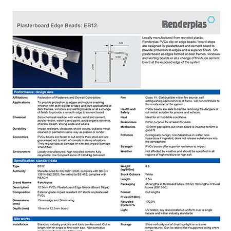 Renderplas Plasterboard Edge Beads: EB12
