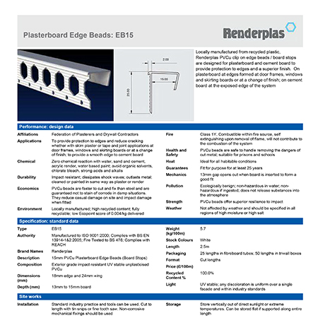 Renderplas Plasterboard Edge Beads: EB15