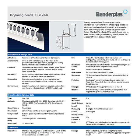 Renderplas Drylining beads: SGL20-6
