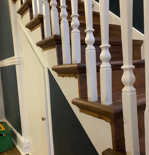 Walnut stairs and stair nosing from The Solid Wood Flooring Company