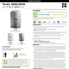 ThinAir® Hand Dryer Tech Data