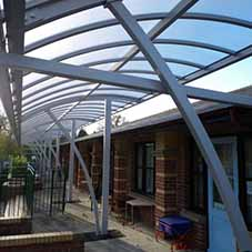 Twinfix Curved Canopy Glazed With Polycarbonate