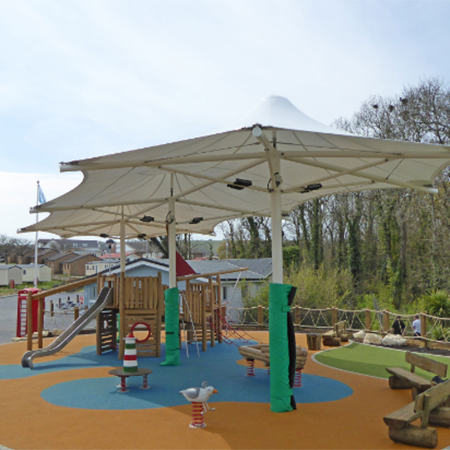 & Tensile canopy for Whitecliff Bay Holiday Park