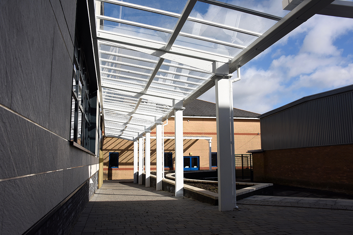 Broxap shelters and seating at South Wales school