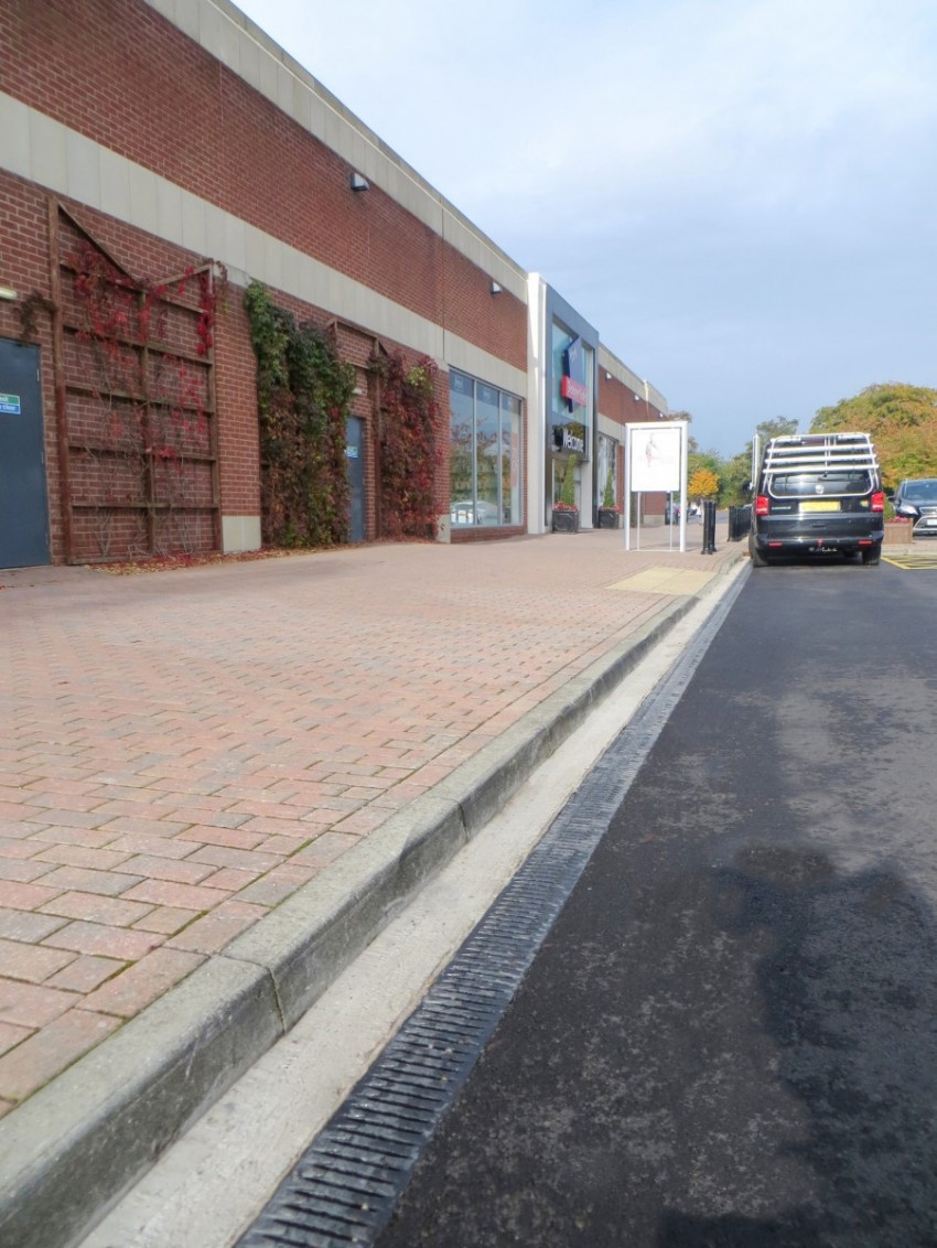 High capacity channel system drains at Designer Outlets