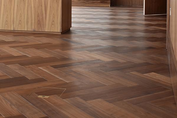 Solid Wood Flooring featured at Luxury Television Center Apartments