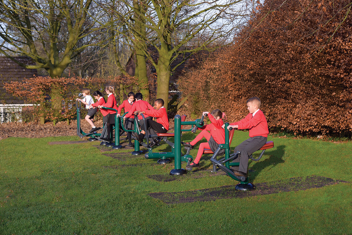 Outdoor fitness area for pupils at Johns CE Primary School