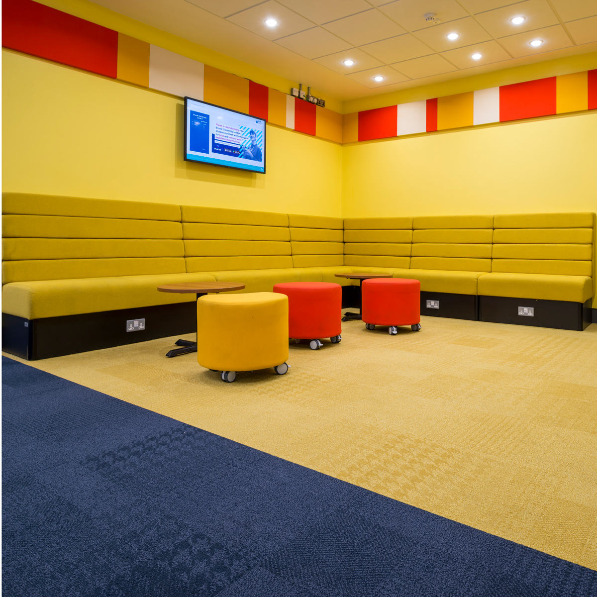 Vibrant bright Amtico carpet adds colour to The Bannerman Centre
