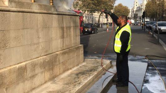 Super-heated steam cleans the Cenotaph