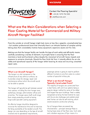 Selecting a floor coating material for commercial and military aircraft hangar facilities
