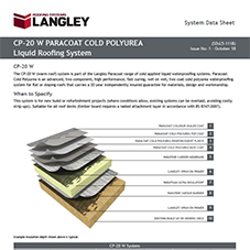 CP-20 W Paracoat Cold Polyurea Liquid Roofing System Data Sheet