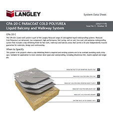 CPA-20 C Paracoat Cold Polyurea Liquid Balcony and Walkway System Data Sheet
