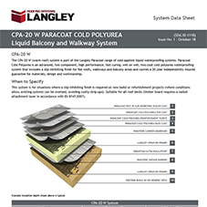 CPA-20 W Paracoat Cold Polyurea Liquid Balcony and Walkway System Data Sheet